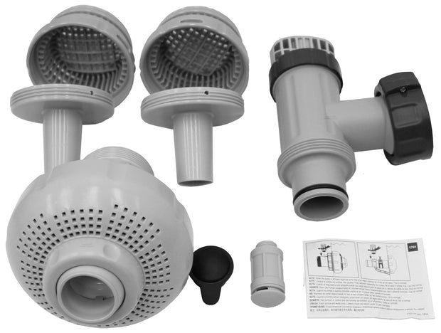 "Intex 26005E-LARGE Pool 1-1/2"" Fittings Set 1900-2500GPH with 2 1-1/4"" Strainers"
