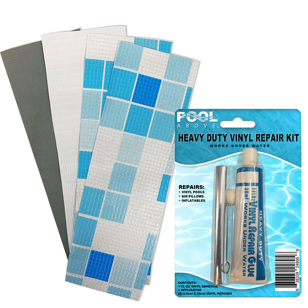 Repair Kit for Oval Power Pool | Vinyl Glue | Gray Blue Multi Patches