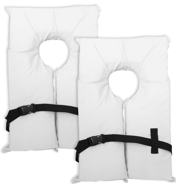 2 Pack Type II White Life Jacket Vest - Adult Universal Boating PFD