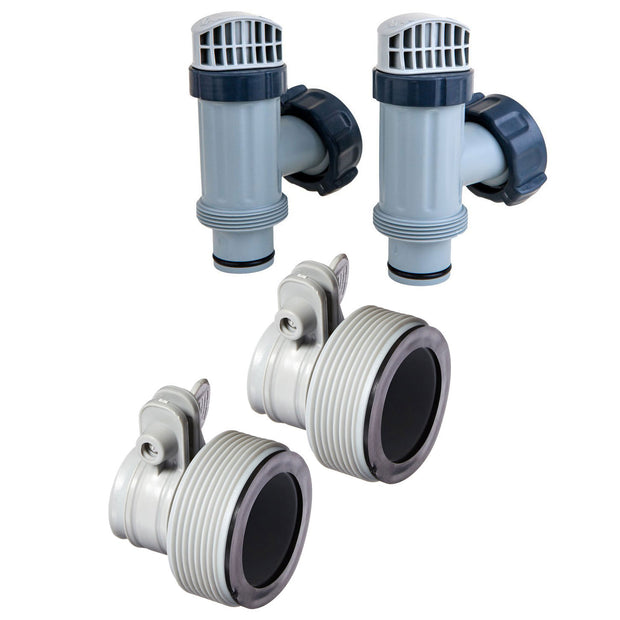 Intex Hose Adapter B w/ Collar (2 Pack), Above Ground Plunger Valves (2 Pack)