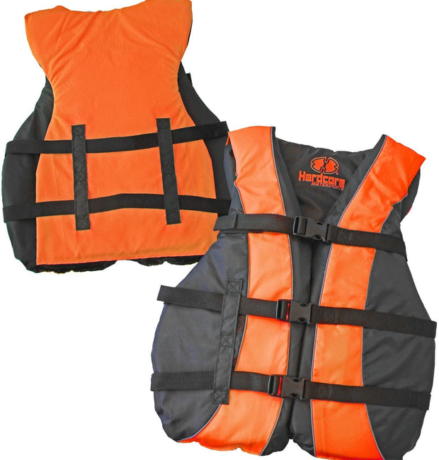 3 Pack Hardcore Adult Life Jacket PFD Type III Coast Guard Ski Vest Neon Orange