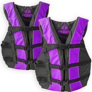2 Pack Hardcore Adult Life Jacket PFD Type III Coast Guard Ski Vest Purple