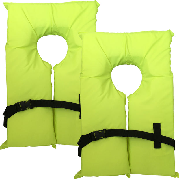2 Pack Type II Neon Yellow Life Jacket Vest - Adult Universal Boating PFD
