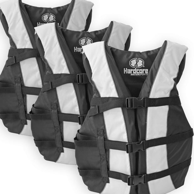3 Pack Hardcore Adult Life Jacket PFD Type III Coast Guard Ski Vest White