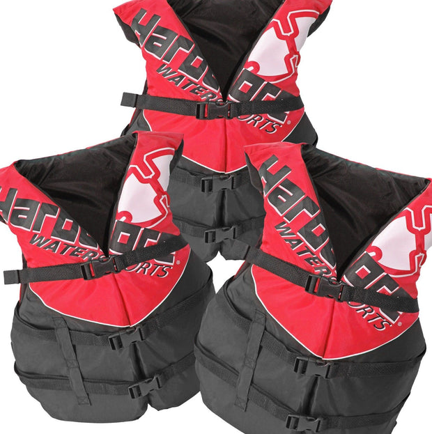 3 Pack Hardcore Adult Life Jacket PFD Type III Coast Guard Ski Vest HC110 Red