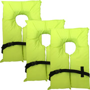 3 Pack Type II Neon Yellow Life Jacket Vest - Adult Universal Boating PFD