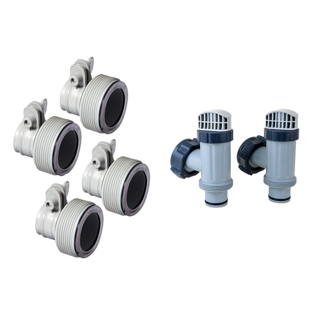 Intex Hose Adapter B w/ Collar (4 Pack), Above Ground Plunger Valves (2 Pack)