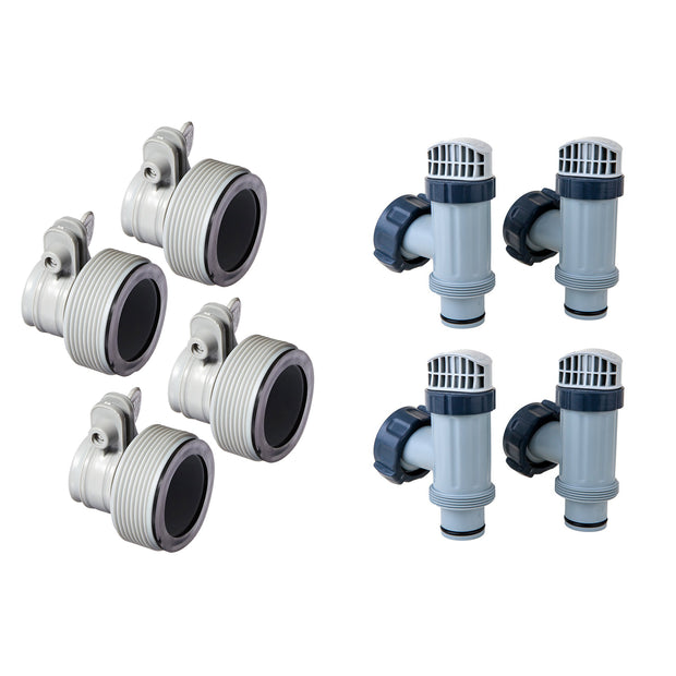 Intex Hose Adapter B w/ Collar (4 Pack), Above Ground Plunger Valves (4 Pack)