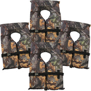 4 Pack Type II Camo Life Jacket Vest - Adult Universal Boating PFD