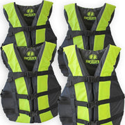 4 Pack Hardcore Adult Life Jacket PFD Type III Coast Guard Ski Vest Neon Yellow