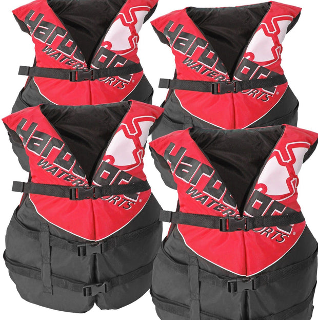 4 Pack Hardcore Deluxe Adult Life Jacket PFD Type III Coast Guard Ski Vest Red