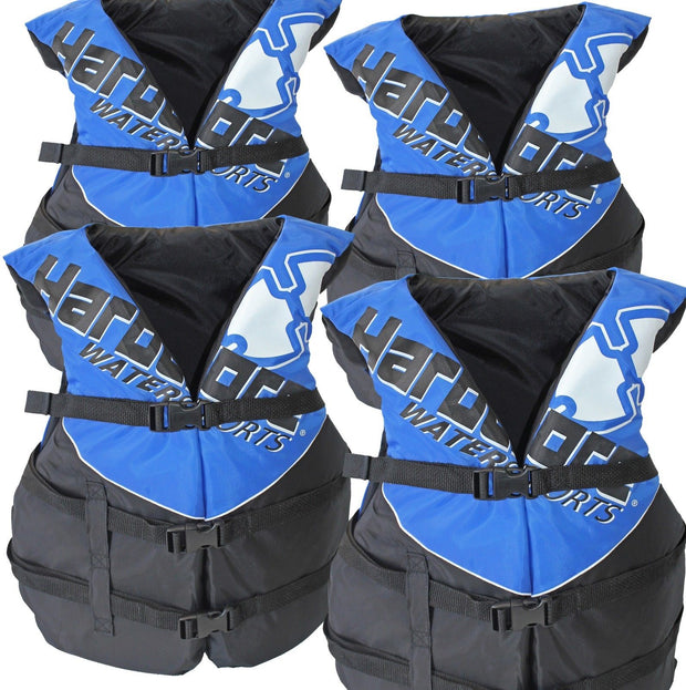 4 Pk Hardcore Deluxe Adult Life Jacket PFD Type III Coast Guard Ski Vest Blue