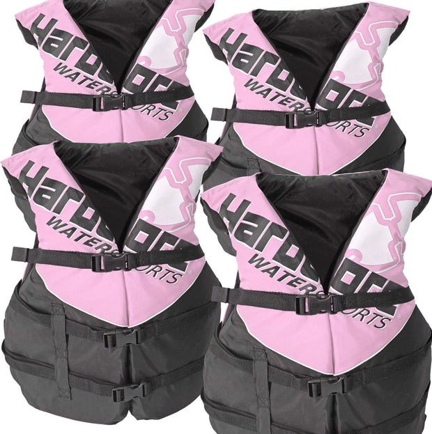 4 Pack Deluxe Adult Life Jacket PFD Type III Coast Guard Ski Vest Pink