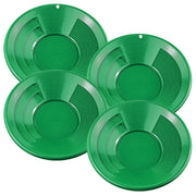 4 Pack of 10-Inch Plastic Gold Mining Pan in Green