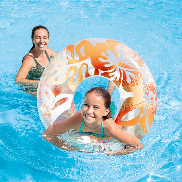 Intex Colorful Transparent Inflatable Swimming Pool Tube Raft (6 Pack) 59251EP