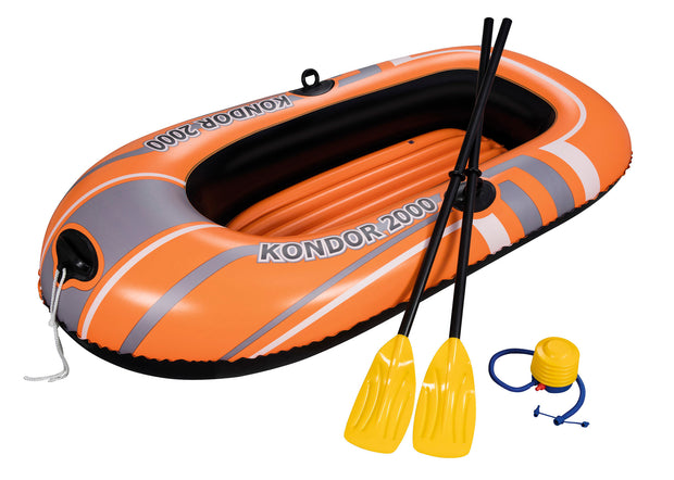 H2OGO! Kondor 2000 Inflatable Boat Two Person Explorer Raft w/ Paddles & Pump