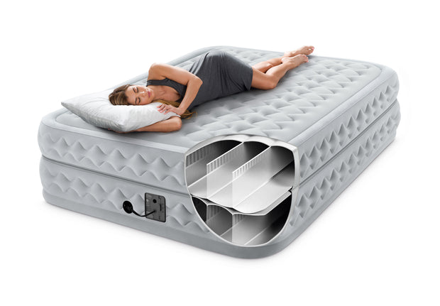 Intex Queen Supreme Air-Flow Airbed with Built-in Electric Pump