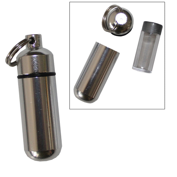 6 Pack Aluminum Pill Case Keychain ID Holder Silver with Inner Container