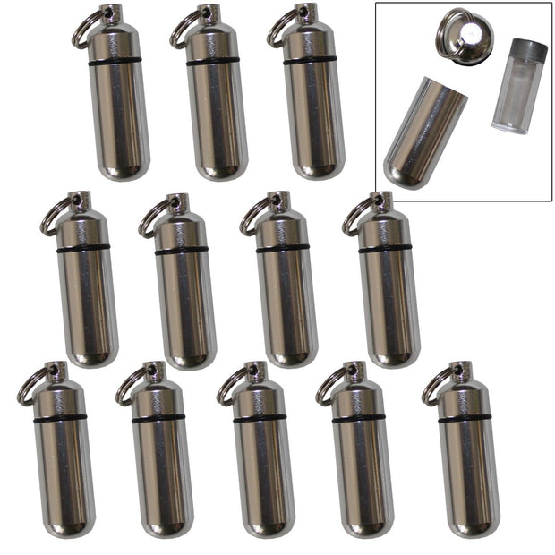 12 Pack Aluminum Pill Shape Case Keychain ID Holder Pet Ashes Urn Silver Metal