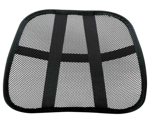 Cool Mesh Back Lumbar Support Vent Cushion Car Office Chair Seat Black Pack of 2
