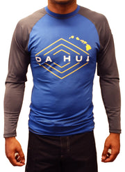 Mens Da Hui Long Sleeve Rash Guard Water Surf Shirt UPF 50+