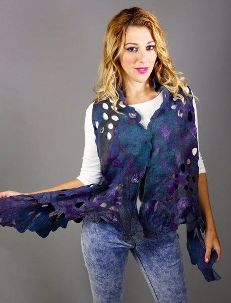 Sale Unigue Nuno Felted Merino Wool Silk Vest