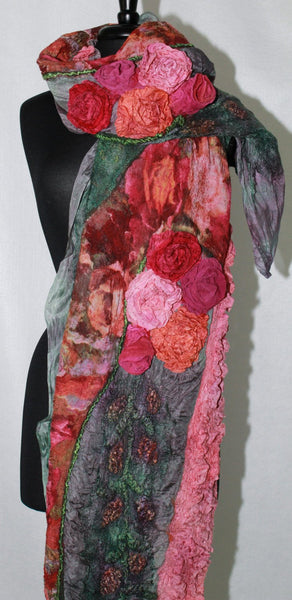 Hand Dyed Silk and Wool Wrap Floral Felted  Scarf Nuno Felted Scarf Shawl Wrap Fiber Art Scarf Green Roses Scarf  Roses Shawl Romantic Scarf