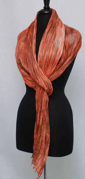 Long Crinkle Silk Scarf