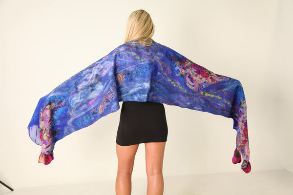 The SALE Nuno Felted Shawl in Shades Of Royal Blue and Magenta  Long Felted Flower   Luxurious Evening Wrap. Tulip flower scarf Boho.