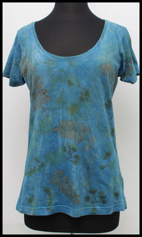 Indigo Dyed Cotton Deep Scoop Tee