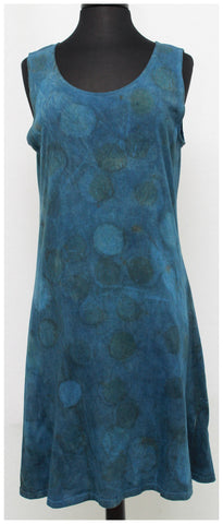 Indigo Dyed Cotton Crew Neck Dress A-line
