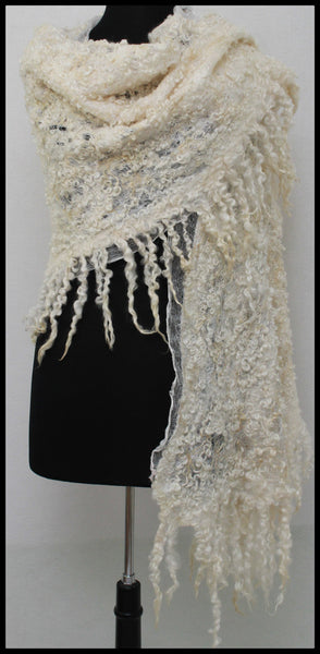 Wedding Cobweb Lacy Hand Felted Scarf- Off White