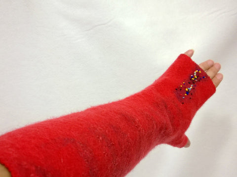 Hand felted fingerless mittens Felted Mittens fingerless gloves- Red  gift under 50