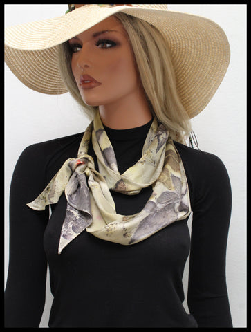 New Unisex Scarf Botanical Print Pure Silk 100%