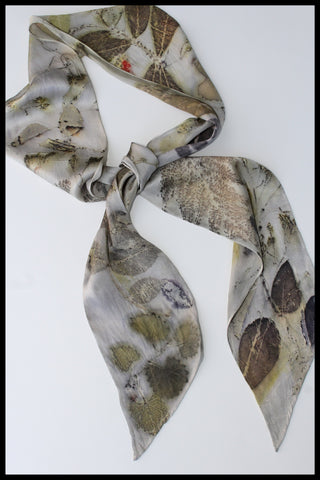 Silk Scarf Botanical Print Pure Silk 100%