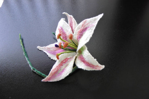 Felted Lily-Flower Pin/Brooch