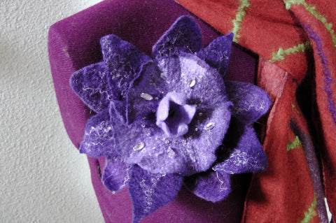 Felted Fantasy-Flower Pin/Brooch