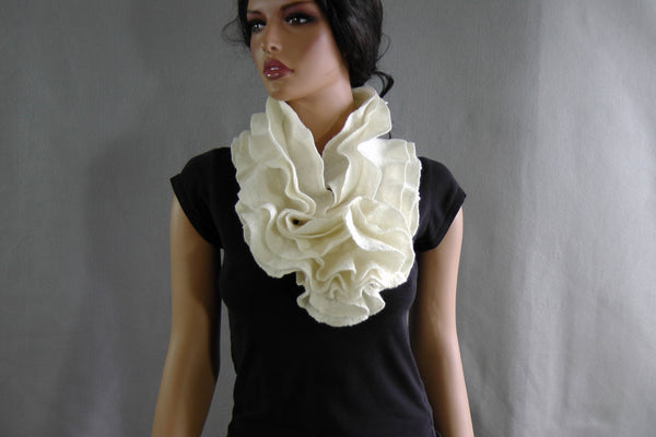 SALE Felted scarf  three layers ruffle collar -  Off White