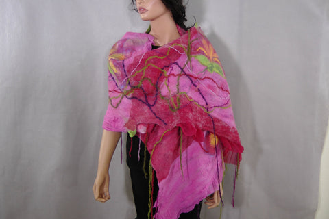 SALE Felted  Scarf Nuno Felted Scarf Shawl Wrap chunky texture Pink