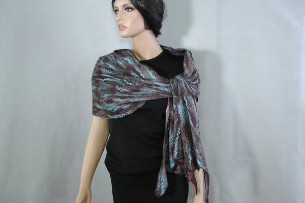 SALE  Cobweb Scarf/ Shawl lace thin wool and silk felted scarf. Brown Turquoise