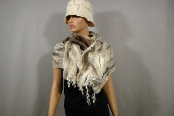 SALE Cobweb Lacy Hand Felted Scarf- Off White