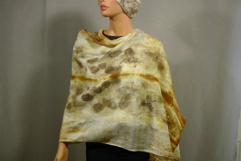 SALE Felted  Scarf Nuno Felted Scarf Shawl Wrap chunky texture Eco print