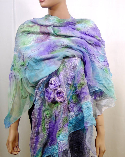 Felted Scarf Nuno Felted Scarf Shawl Wrap chunky texture Multicolor