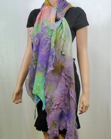 SALE Felted  Scarf Nuno Felted Scarf Shawl Wrap chunky texture Multicolor