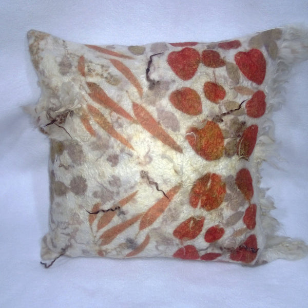 Felted Pillow cover  Fur eco friendly Country Home Eco Print Decor OOAK