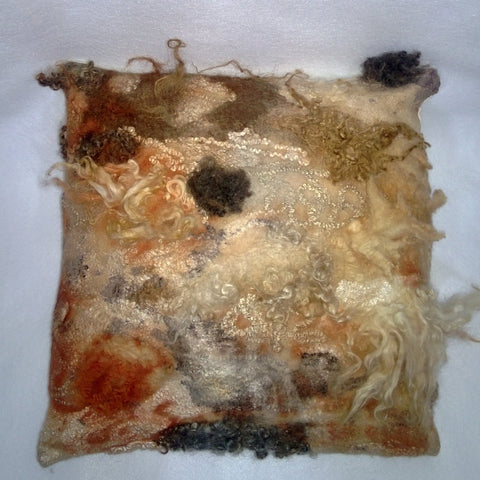 Felted Pillow  Fur eco friendly Country Home Eco Print Decor OOAK