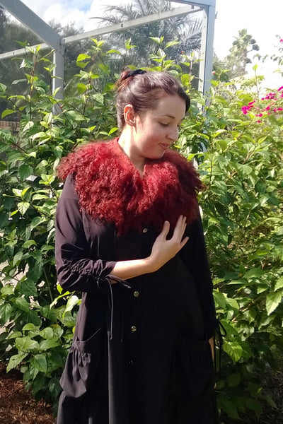 SALE Felted collar Boa  Felted Scarf Long Raw Wool Dyed  with longwood tree Fur Neck Warmer Collar OOAK