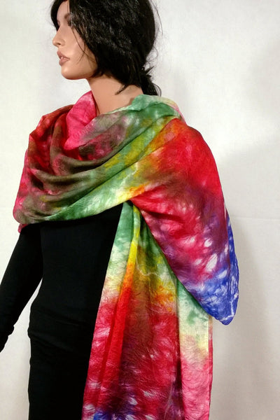 Shibori Silk Scarf Pareo Beach Cover Up Shawl Sarong Handmade Multicolor Red Green Rust Aztec Gold Print OOAK