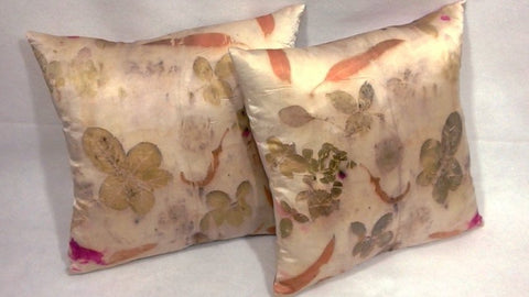 New Pure Charmeuse Silk Pillowcase   eco friendly Country Home Eco Print Decor OOAK Hyperallergenic pillow cover