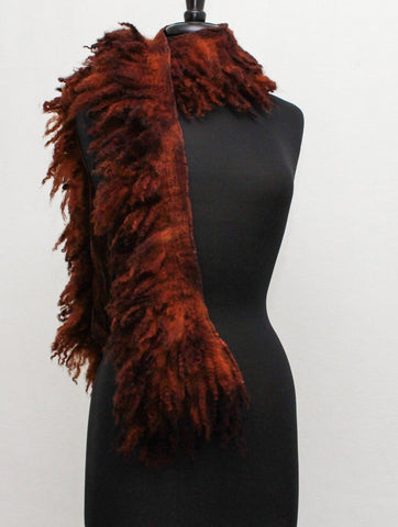 The Long Felted collar Boa  Felted Scarf Long Raw Wool Fur Neck Warmer Collar OOAK Raw Fleece Color Brown Wild Scarf